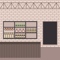 bar shop counter shelf bottles drinks wall brick