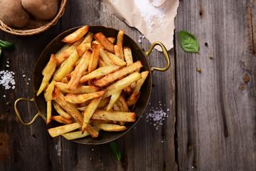 Homemade potato french fries Fotobehang