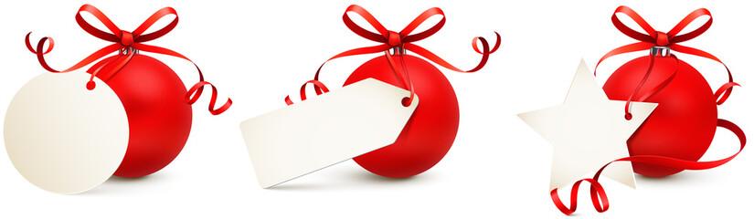 Weihnachskugel mit Schleife und Etikett Set - Vorlage rot
