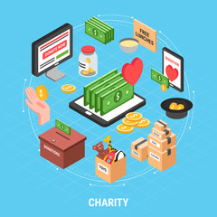 Charity Isometric Design Concept