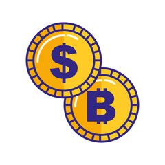 coins money dollar bitcoin isolated image
