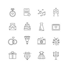 Outlined wedding icon set. Bouquet, Wedding Dress, Cake, Ring with Diamond, Camera, Gift, Champagne, Marriage, Love Letter. Vector illustration for web pages