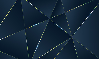Dark blue Premium background with luxury polygonal pattern and gold triangle lines.