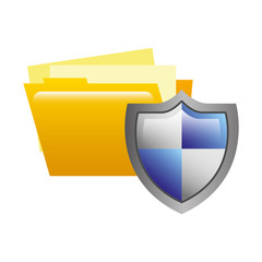 folder document and shield isolated icon