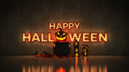 Neon Sign on Brick Wall background - Happy Halloween. 3d rendering