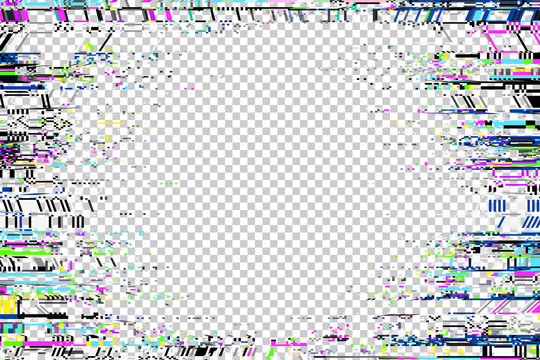 Glitch frame. Display error background. Computer screen digital noise. Abstract business design. Video game glitch. TV signal fail. Technical problem grunge wallpaper.