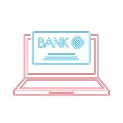 laptop computer bank card credit payment neon design