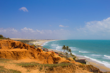 View of the white hill beach in Ceará Brazil, blue sky and sea