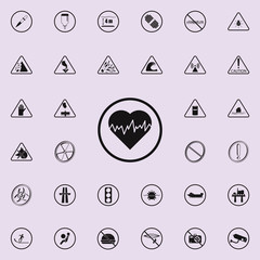dangerously heartbeat sign icon. Warning signs icons universal set for web and mobile