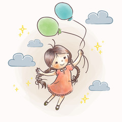 Little Girl Flying Holding Balloon