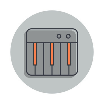 synthesizer key icon in badge style. One of web collection icon can be used for UI, UX