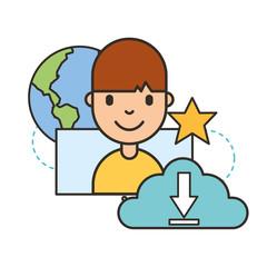 man cartoon cloud storage download world social media