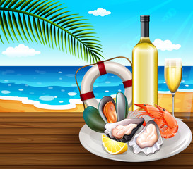 A seafood set on summer beach background