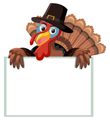 A turkey with blank banner