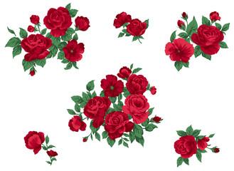 クラシカルな真っ赤なバラのモチーフ