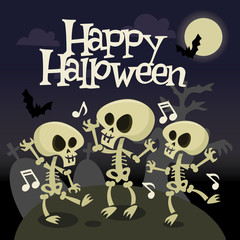 Happy Halloween Skeleton Dancing In Graveyard