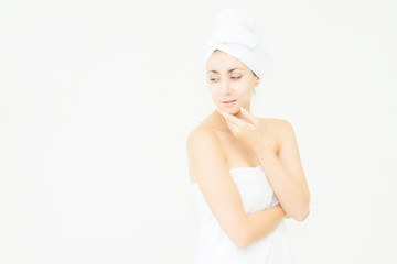 Skin Care Advertising Model.Beautiful Spa Woman with perfect skin showing empty copy space