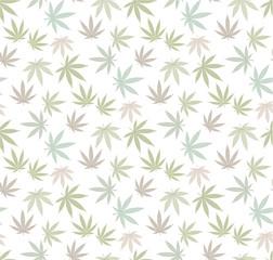 Marijuana leaves seamless vector pattern.
