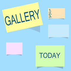 Word writing text Gallery. Business concept for Room Building Display Sale works of art Exhibition Museum wall.