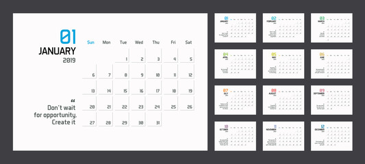 Modern minimal Calendar Planner Template for 2019. Vector design editable template with motivational quotes