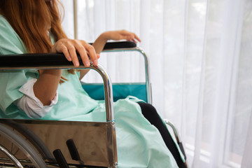 Disabled women is wheelchair in hospital.rehabilitation concept