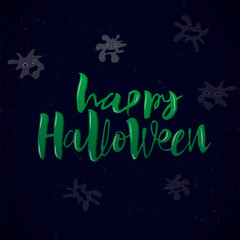 Happy Halloween card with ghost. Modern green inscription and decorative illustration of spook on a dark blue background. Vector handwritten lettering for banner, sticker, label, card, flyer.