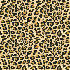 Jaguar skin seamless pattern vector illustration for fashion textile print and wrapping.