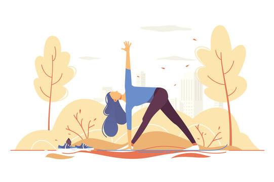 Young girl doing yoga in a park on city background.