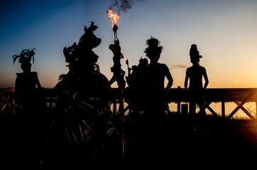 Precolumbian Mayan Dancers at Mexico