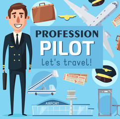 Pilot profession vacancy at airport poster vector