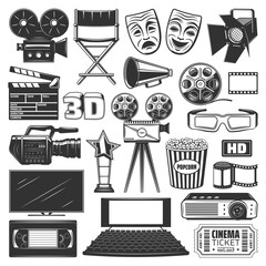 Cinema production, watching equipment signs icons