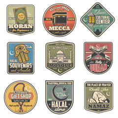 Islam religion retro symbols with holy attributes