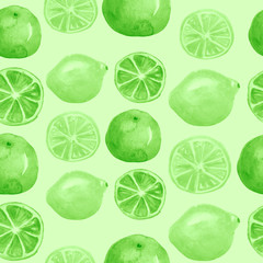 Vintage seamless pattern with watercolors - from tropical fruit, green citrus spray, lemon, lime, splash. Bright fashionable background.
