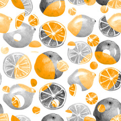 Vintage seamless pattern with watercolors - from tropical fruit, citrus spray, lemon, orange, lime, grapefruitpaint splash. Bright fashionable background. drawing on white background.