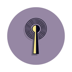 antenna and signal icon in badge style. One of web collection icon can be used for UI, UX