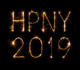 2019 happy new year with Sparkle firework