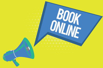 Word writing text Book Online. Business concept for Reserve accommodations plane tickets events over the internet.