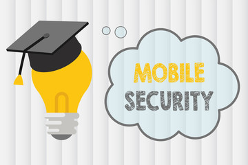 Text sign showing Mobile Security. Conceptual photo Protection of mobile phone from threats and vulnerabilities.