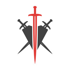 Abstract vector icon. Red and black shield and sword logo template.