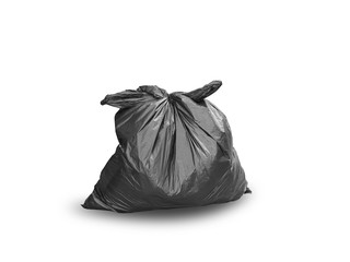 Black garbage bag isolated on white background. This has clipping path.
