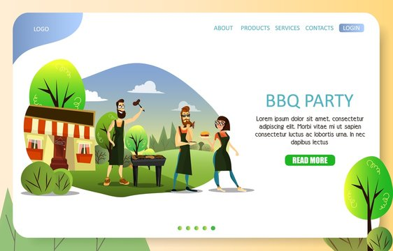 BBQ party landing page website vector template