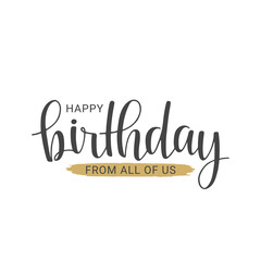 Handwritten lettering of Happy Birthday on white background