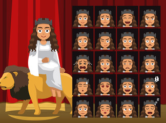 Greek Titans Rhea Costume Cartoon Emotion faces Vector Illustration