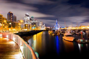 Night city view of Seattle city scape at night time,Long Exposure picture of Downtown Seattle, USA.