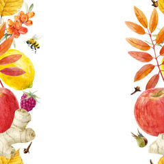 Watercolor autumn floral vector pattern