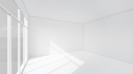 White room space background. 3D Rendering.