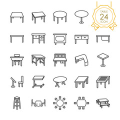 Set of table or desk line icon on white background, Vector illustration