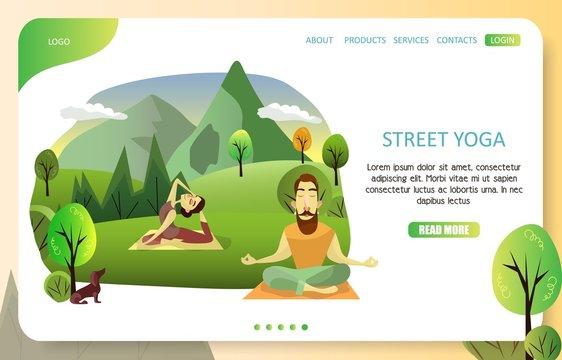 Street yoga landing page website vector template