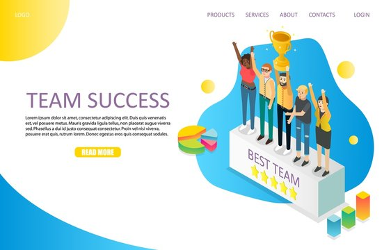 Team success landing page website vector template