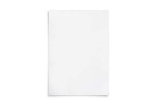 White paper cover isolated on white background.